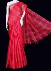 Plain Red Cotton Saree, Handwash, 6.5 m (with blouse piece)
