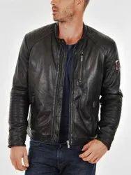 Men's Black Lambskin Leather Slim-Fit Biker Racer Zippered Pockets Jacket
