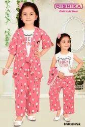 Pink and White Girl Kids Night Wear