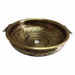 Vansh Handicrafts Counter Tops Brass Designer Urli Wash Basin, For Bathroom, Model Name/Number: 14