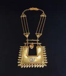 Golden Brass Contemporary Neckpiece