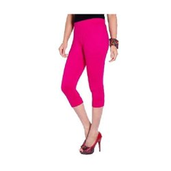 Dark Pink Ladies Viscose Lycra Capri