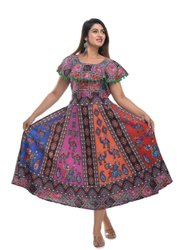 Jaipuri Print Pumfum Attached Frock