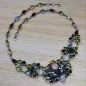 925 Sterling Silver Blue Topaz And Multi Gemstone Necklace Jewelry
