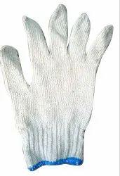 白色平棉针织手套