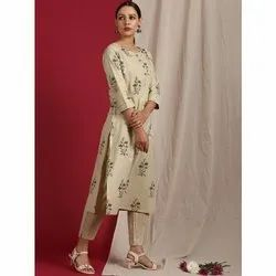 Janasya Women's Beige Cotton Kurta With Pant (SET235)