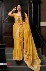 ANK Enterprise Kalamkari Prints Banarasi Pure Silk Cotton Sarees, With Blouse, 5.5 m