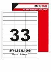 A4 LABEL SHEET LS33L ( 66mm X 25.4mm ) STICKWELL