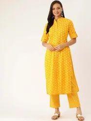 Jaipur Kurti Women Mustard Yellow Ethnic Motif Straight Cotton Slub Kurta With Palazzo
