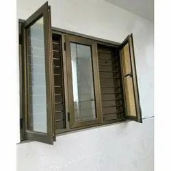 Brown Polished Aluminium Section Window