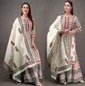 Cotton printed kurti sharara with dupatta set