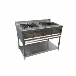 Stainless Steel Two Burner Gas Stove, For Kitchen