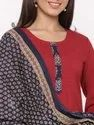 Jaipur Kurti Women Maroon Solid Straight Cotton Kurta With Salwar and Dupatta
