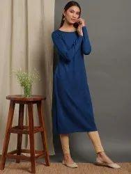 Janasya Women's Blue Woolen Kurta(J0265)