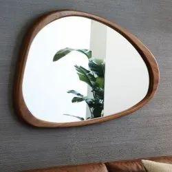 Smooth Corner Triangle Shape Mirror Copper Antique Styles Mirror