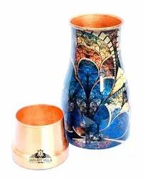 Cylindrical Printed Copper Jar, For Home, Capacity: 1 Litres
