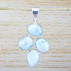 Natural Larimar Gemstone Silver 925 Handmade Pendant