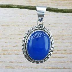 Blue Chalcedony Gemstone 925 Sterling Silver Jewelry Pendant