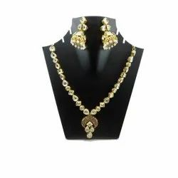 Golden Party Fashion Necklace Sets, Neckless And 2 Earings