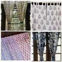 Block Printed 7 Feet Designer Cotton Door Curtain, Size: 44 Width