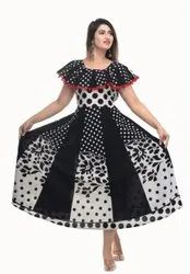 Jaipuri Print B/W Pumfum Attached Frock
