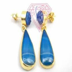 Blue Agate and Blue  Druzy  Gemstone Stud Earring Material with gold plated