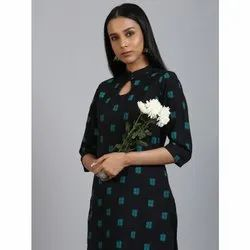 Janasya Women''s Black Cotton Flex Kurta (JNE3564)