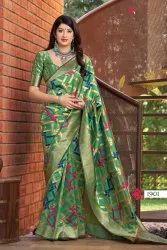 Jamdani 6.3 m (with blouse piece) Banarasi Weaving Kora Silk Saree