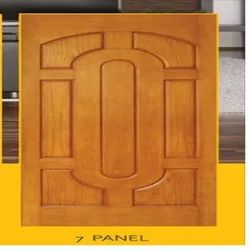 Wood Laminated Moulded Seven Panel Doors, Brown