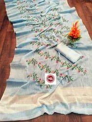 pure cotton linen saree