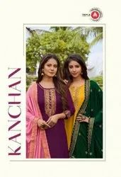 Triple AAA Kanchan Pure Upada Silk Party Wear Designer Salwar Suit Catalog