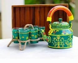 Traditional Hand Painted Tea Kettle With Glass Set