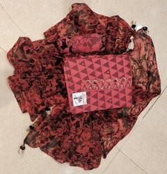 Arihnat Fashion Unstitched Fancy Cotton Printed Gajri Suit with Chiffon Dupatta, Handwash