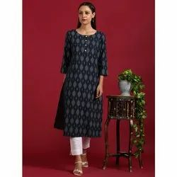 Janasya Women's Navy Blue Cotton Flex Kurta (JNE3553)