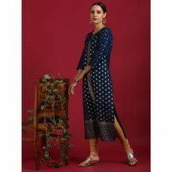 Janasya Women's Blue Rayon Kurta (JNE3548)