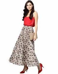 Jaipur Kurti Women Grey Ethnic Motifs Straight Cotton Skirt