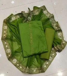 Arihant Fashion Green Designer Jam Cotton Suit Material With Stone Work And Heavy Dupatta