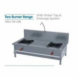 Stainless Steel Polished Two Burner Cooking Range, For Commercial