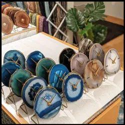 Analog Semi Precious Stone Table Clock, Shape: Round