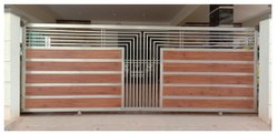 Brown(Base) Modern Stainless Steel Sliding Gate, For Home