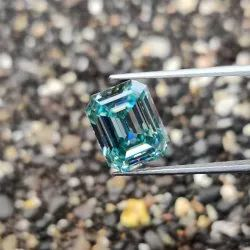 3.53 Ct Light Blue Color Emerald Cut Loose Moissanite For Jewelry