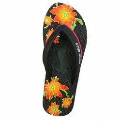 Fancy Black, Orange United Hills EVA Ladies Slipper