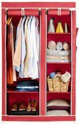 6 Racks Foldable Portable Cloth Wardrobe & Storage Double Door Design Wardrobe & Closet Cupboard