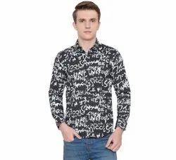Cotton Men Collar Neck Printed Shirt, Size: Xs-xxl