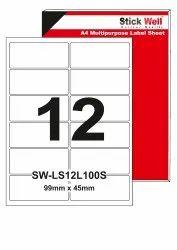 A4 LABEL SHEET LS12L ( 99mm X 45mm ) STICKWELL