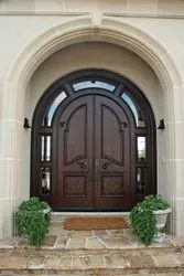 Polished Brown Stylish Wooden Door