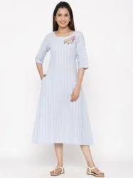 Jaipur Kurti Women Blue Embroidered A Line Cotton Blend Dress