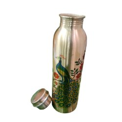 Matyaj Polished Printed Copper Bottle, Capacity: 1 L, Screw