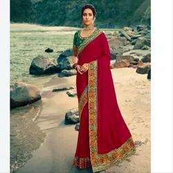 Party Wear Border Ladies Maroon Designer Saree, With blouse piece, 5.5 m (separate blouse piece)