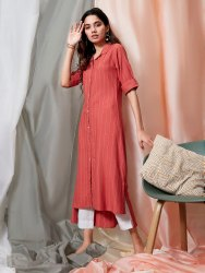 Janasya Women's Orange Rayon Kurti With Pocket (J0142)